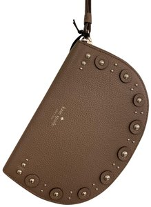 Kate Spade Clutch Wallet Leather Stud Embellished Wristlet in Taupe