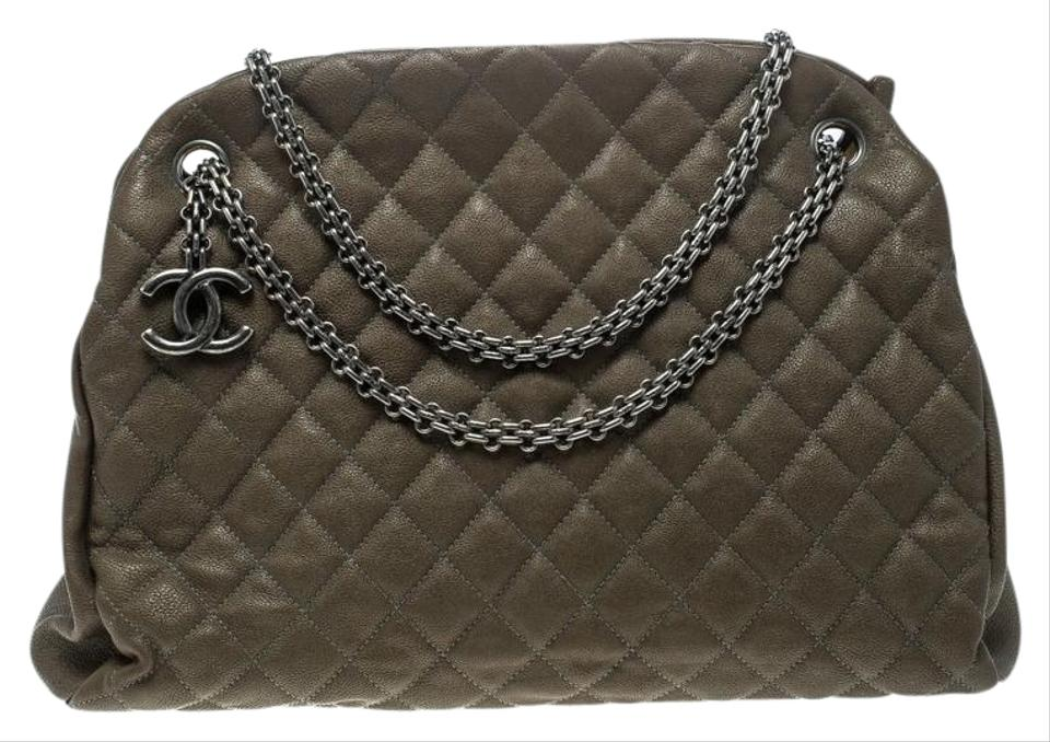 88fa3c987513 Chanel Mademoiselle Bowling Bag Khaki Quilted Large Just Brown Leather  Satchel