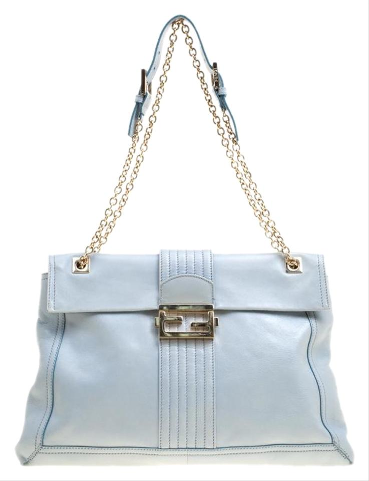 fb51b00f42b7 Fendi Tale Blue Maxi Baguette Grey Leather Shoulder Bag - Tradesy