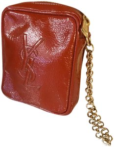Saint Laurent YSL Patent Leather Burnt Red Zip Pouch / Wristlet / Cosmetic Bag