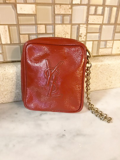 Saint Laurent YSL Patent Leather Burnt Red Zip Pouch / Wristlet / Cosmetic Bag Image 1