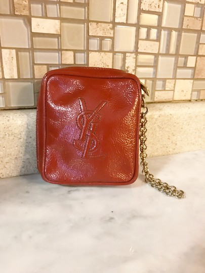 Saint Laurent YSL Patent Leather Burnt Red Zip Pouch / Wristlet / Cosmetic Bag Image 2