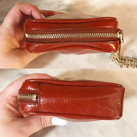 Saint Laurent YSL Patent Leather Burnt Red Zip Pouch / Wristlet / Cosmetic Bag Image 3