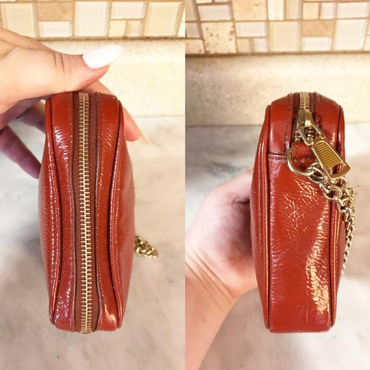 Saint Laurent YSL Patent Leather Burnt Red Zip Pouch / Wristlet / Cosmetic Bag Image 4