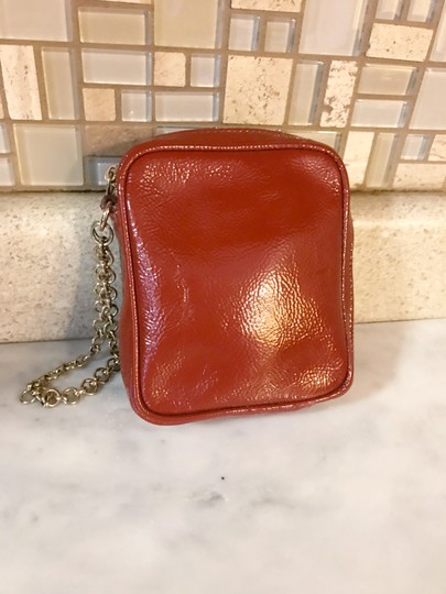 Saint Laurent YSL Patent Leather Burnt Red Zip Pouch / Wristlet / Cosmetic Bag Image 7