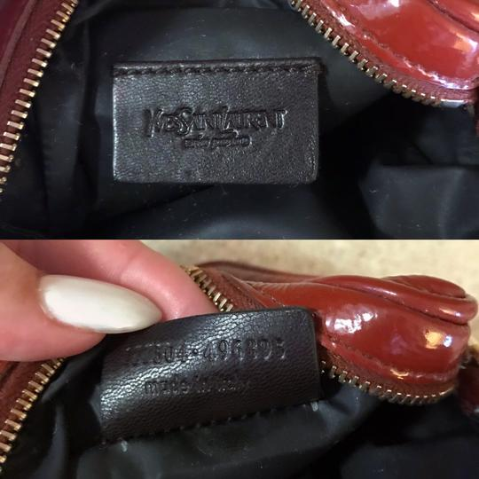 Saint Laurent YSL Patent Leather Burnt Red Zip Pouch / Wristlet / Cosmetic Bag Image 8