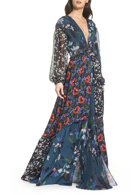 Item - Multicolor Crepe Celia Mix Floral Deep Teal Long Casual Maxi Dress Size 6 (S)