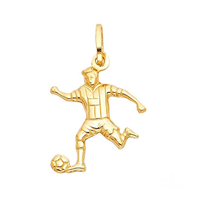 Item - Yellow 14k Soccer Player Pendant Charm