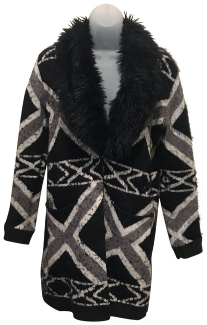 Item - Black/White Southwestern Blanket Blazer/ Jacket with Fur Collar Blazer Size 4 (S)