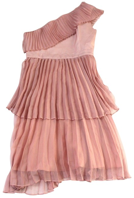 Item - Dusty Pink True Decadence Pleated Tiered One-shoulder Cocktail Dress Size 14 (L)