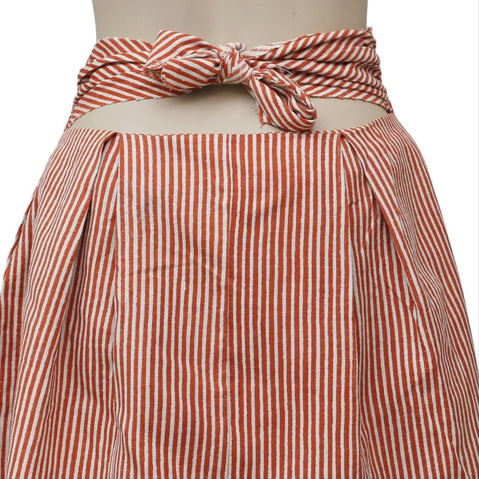 Free People Rust Fp One Railroad Twin Ties Striped Front M Skirt Size 8 (M,  29, 30) 50% off retail