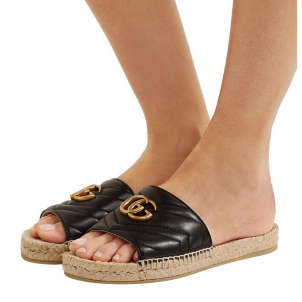 97fff83b503 Gucci Marmont Pilar Gg Logo Quilted Leather Espadrilles Sandals Size ...