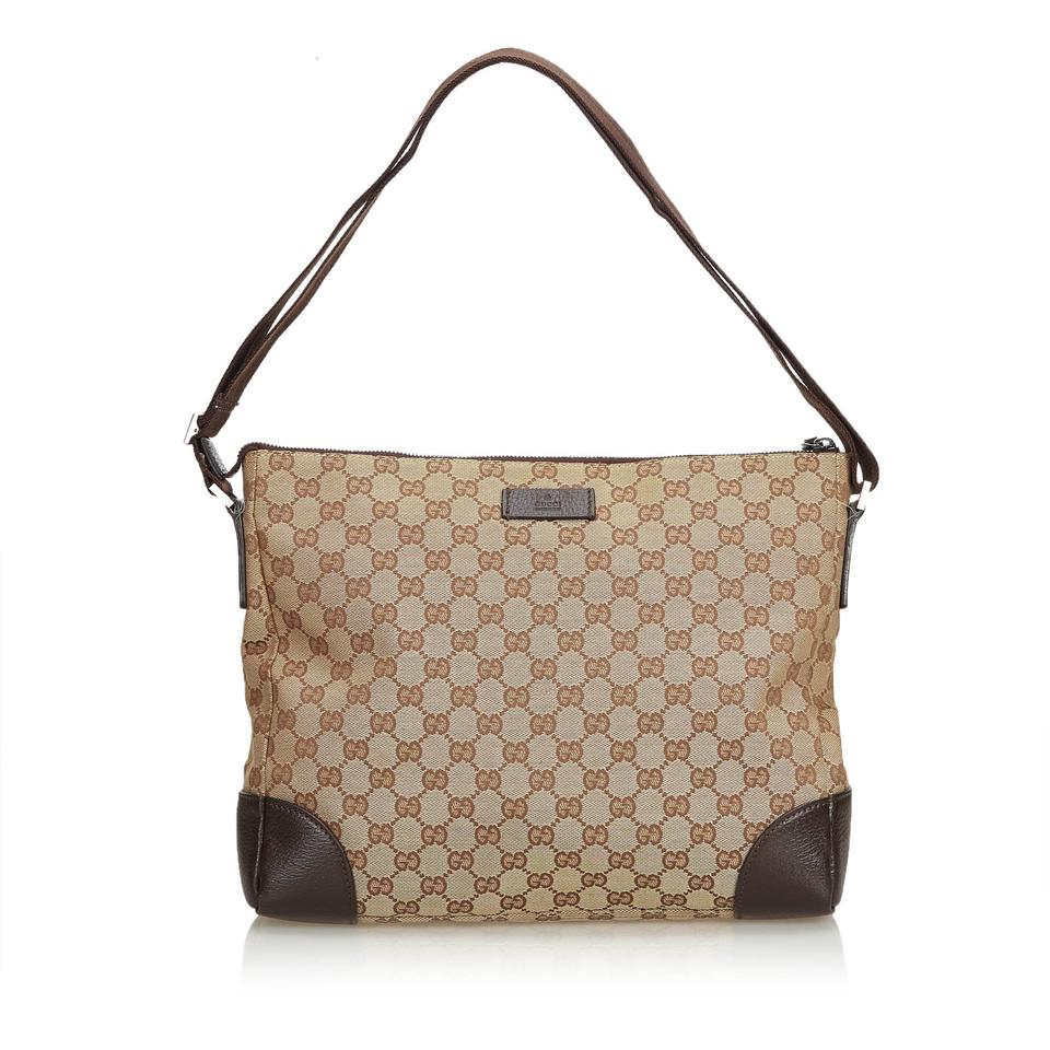 7b839c11124 Gucci Beige Jacquard Fabric Gg Italy W Dust Brown Blend Leather ...