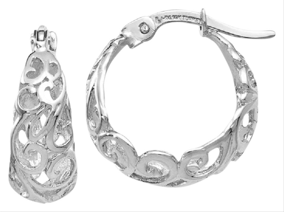 Les Of Gold Small 14k White Cut Out Paisley Hoop Earrings 24 Off Retail