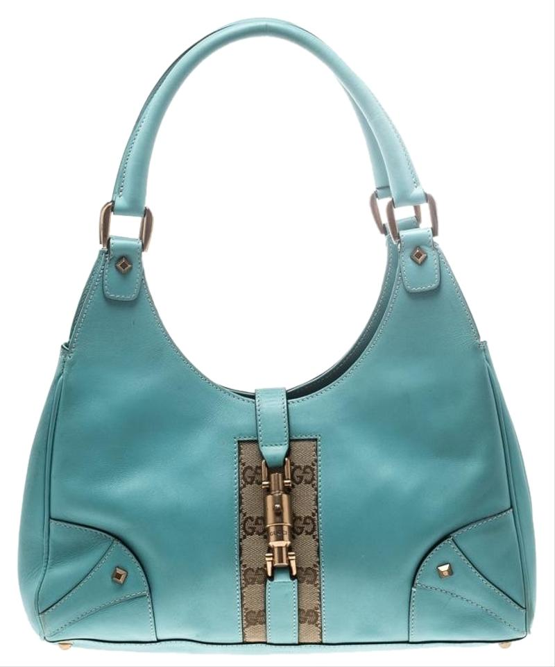 dc1b2d814b0 Gucci Jackie Turquoise and Gg Canvas O Blue Leather Hobo Bag - Tradesy