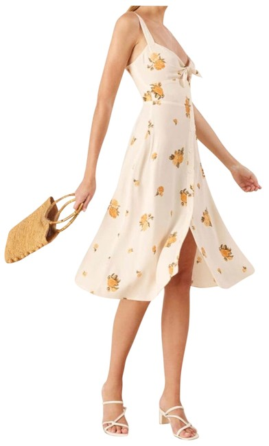 Item - Creamy White with Yellow Florals Frankfort Mid-length Casual Maxi Dress Size 6 (S)