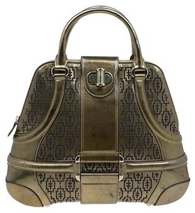 Alexander McQueen Patent Leather Perforated Satchel in Gold