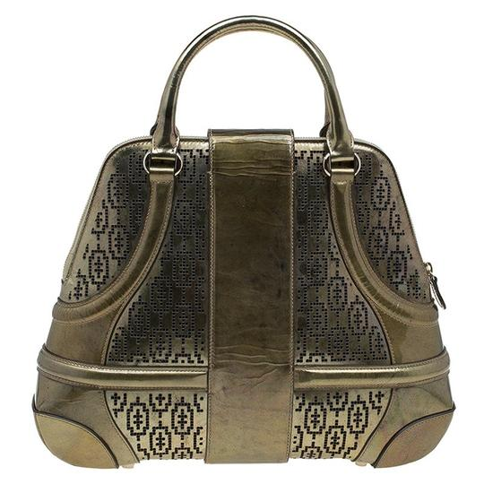 Alexander McQueen Patent Leather Perforated Satchel in Gold Image 1