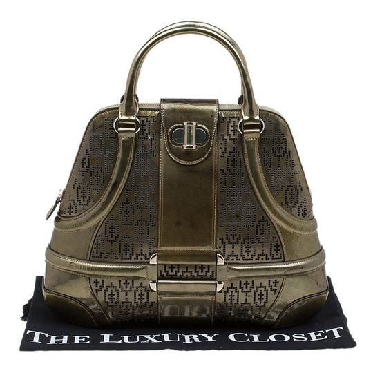 Alexander McQueen Patent Leather Perforated Satchel in Gold Image 10