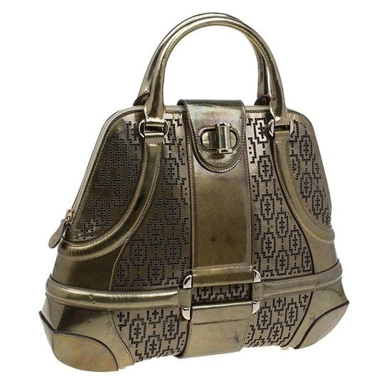 Alexander McQueen Patent Leather Perforated Satchel in Gold Image 3