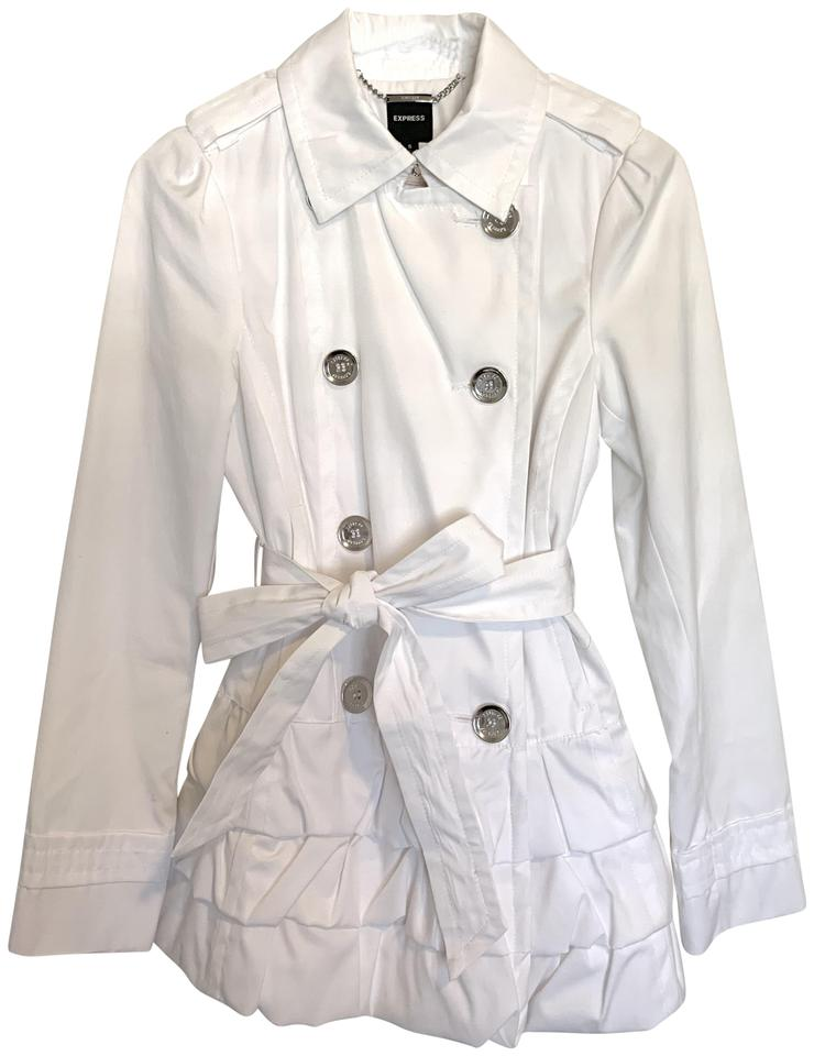 popular design new products meticulous dyeing processes Express White Peplum Trench Coat Jacket Size 4 (S) 73% off retail