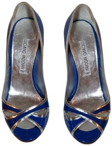 Luciano Padovan Patent Leather Blue/Silver Blue Pumps