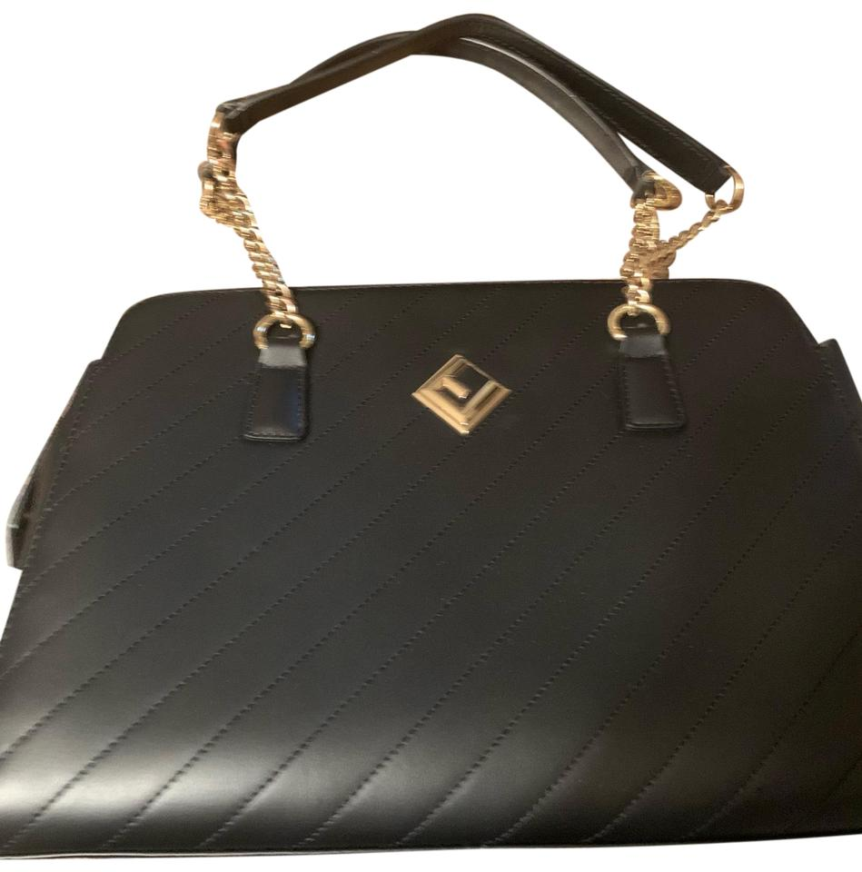 432a67b9e803 Ted Lapidus Handbag Black with Gold Chain Handles Leather Satchel 54% off  retail