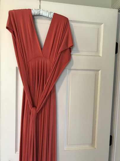 Twobirds Coral 96% Polyester 4% Spandex Two Short Butterfly Destination Bridesmaid/Mob Dress Size OS (one size) Image 2