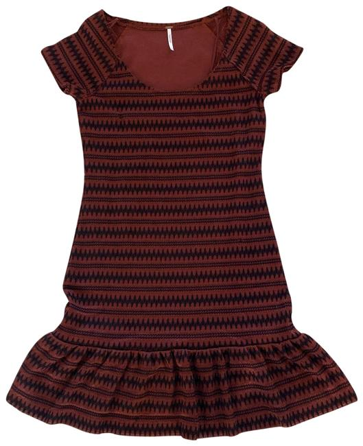 Free People Red and Black Ruffled Edges Form Fitting Like New Mid-length Short Casual Dress Size 8 (M) Free People Red and Black Ruffled Edges Form Fitting Like New Mid-length Short Casual Dress Size 8 (M) Image 1