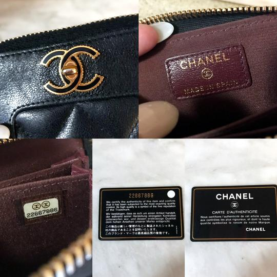 Chanel Black Diamond Quilted Mademoiselle Compact CC Zip Wallet Image 10