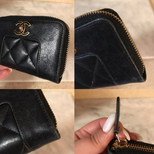 Chanel Black Diamond Quilted Mademoiselle Compact CC Zip Wallet Image 9