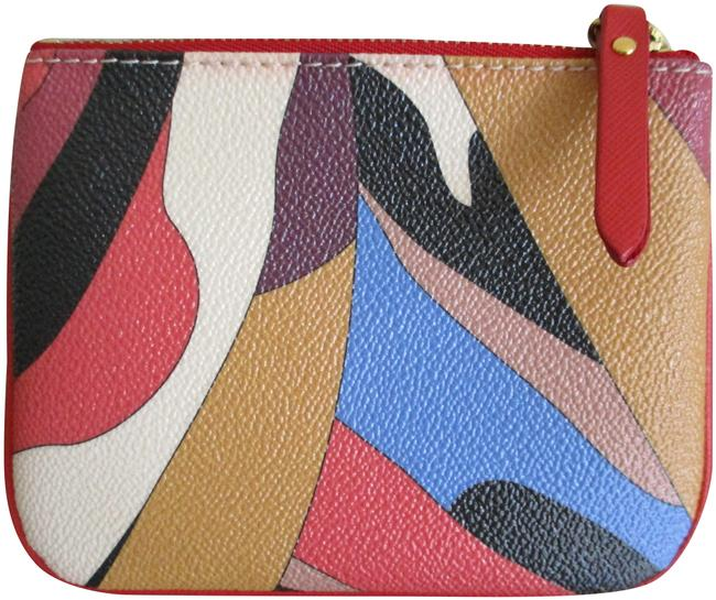 Item - Multi-color Coated Canvas and Leather Trim Pouch with Zip Wallet