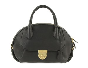 Salvatore Ferragamo Sf.q0206.11 Gold Hardware Dome Lock Satchel in Black