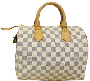 Louis Vuitton Speedy Damier Azur Satchel in WHITE