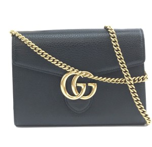 Gucci Leather Flap Marmont Chain Wallet Cross Body Bag
