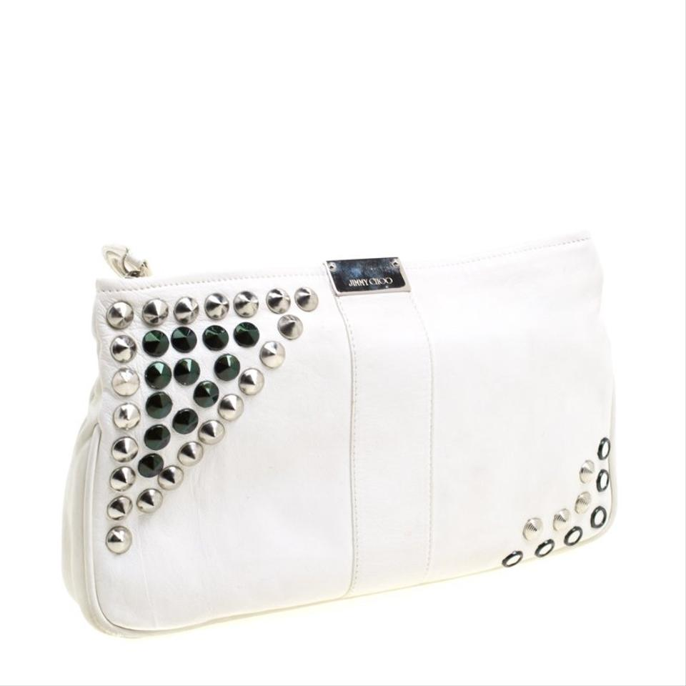 ca0abdeb858 Jimmy Choo Off Studded Zulu White Leather Clutch - Tradesy