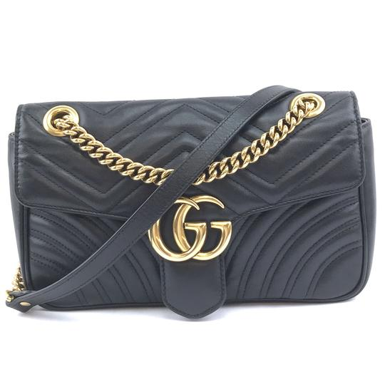 48178651eed9 Gucci Marmont #29068 Rare Gg Logo Classic Flap Small Quilted Shoulder Black  Leather Cross Body Bag