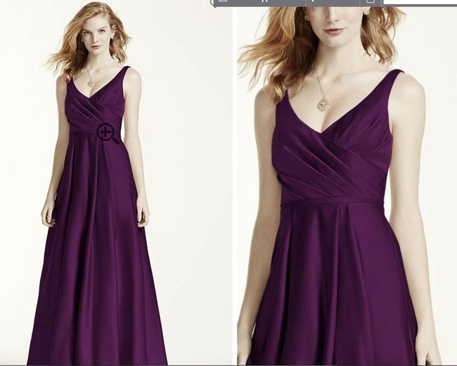 Item - Plum Satin Tank Ball Gown In F15741 Traditional Bridesmaid/Mob Dress Size 6 (S)