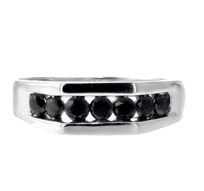 Item - White Gold with Black Diamond Mens Band 1cttw 10k 7mm Wide Engagement Ring