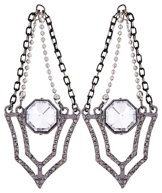 Item - Silver Pave Crystal Dangle Earrings