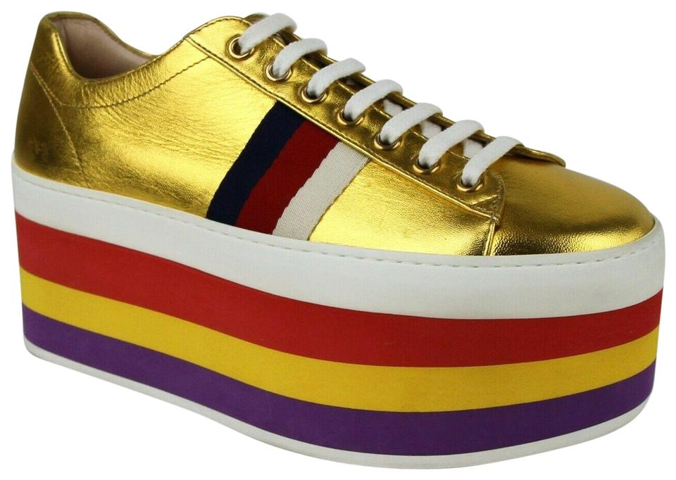 457fc592ccf Gucci Gold Womens Metallic Leather Rainbow Sneakers 37 474538 8068 Platforms