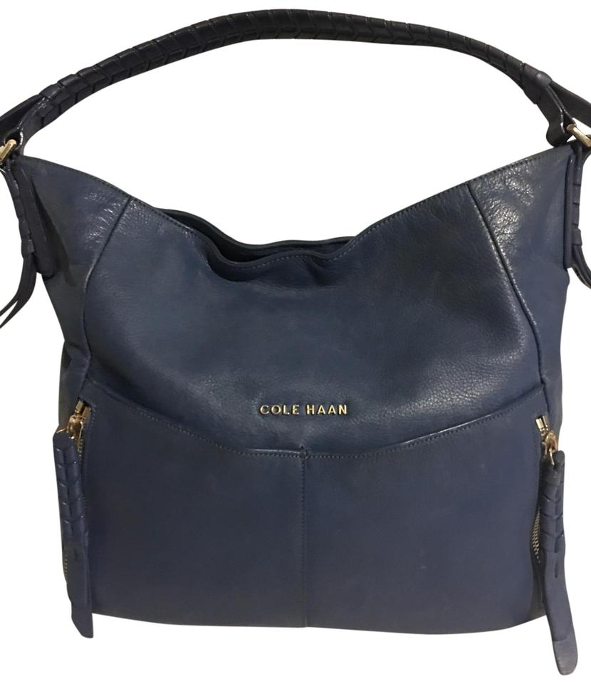 f56081a213 Cole Haan Navy Blue Leather Hobo Bag - Tradesy
