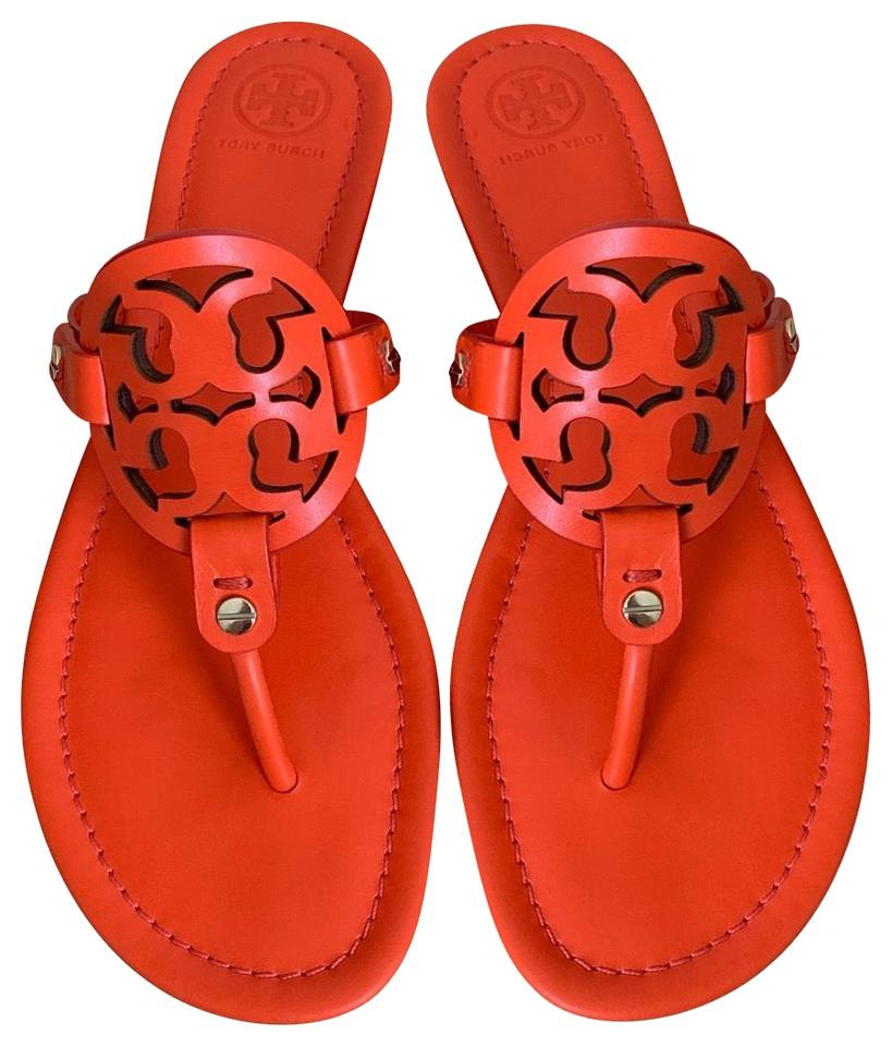 b59ceda62 Tory Burch Orange ( Poppy Red ) 8.5m Miller Veg Leather Sandals Size ...