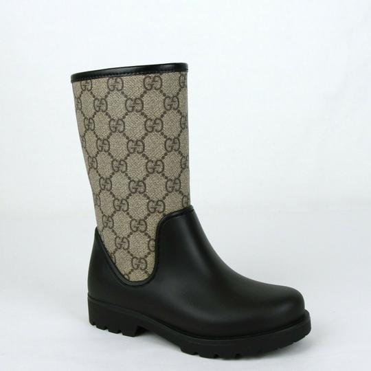 Beige/Ebony Beige/Ebony Coated Canvas Rubber Rain Boots 29/Us 12 442772 9762 Shoes by Gucci