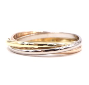 Cartier 18K Trinity white gold yellow rose pink gold ring size 51