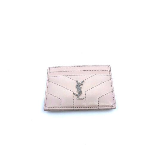 Saint Laurent White Ysl Silver Logo Monogram Cream Card
