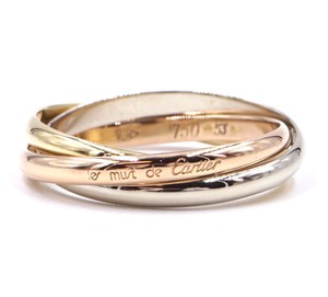 Cartier 18K Trinity white gold yellow rose pink gold ring size 53
