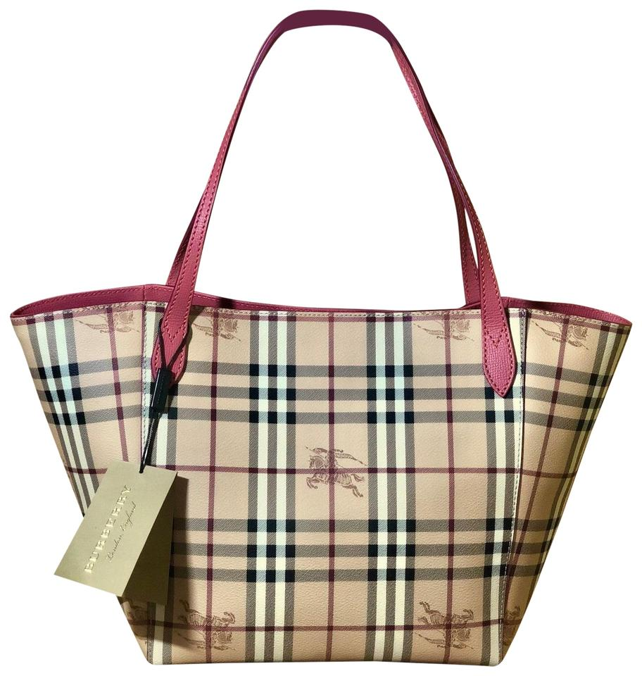85bae85fd Burberry Haymarket Check Colours Small Canterbury Plum Pink Coated ...
