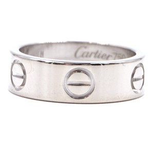 Cartier white 18K gold Love ring size 49 4.75 5.5mm wide