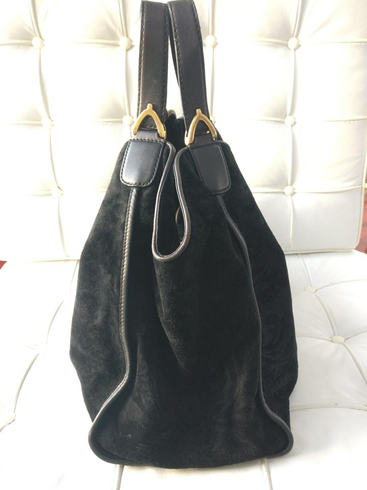 7ae2d4ae8c4 Gucci Floral Suede Tote Black Leather Shoulder Bag - Tradesy
